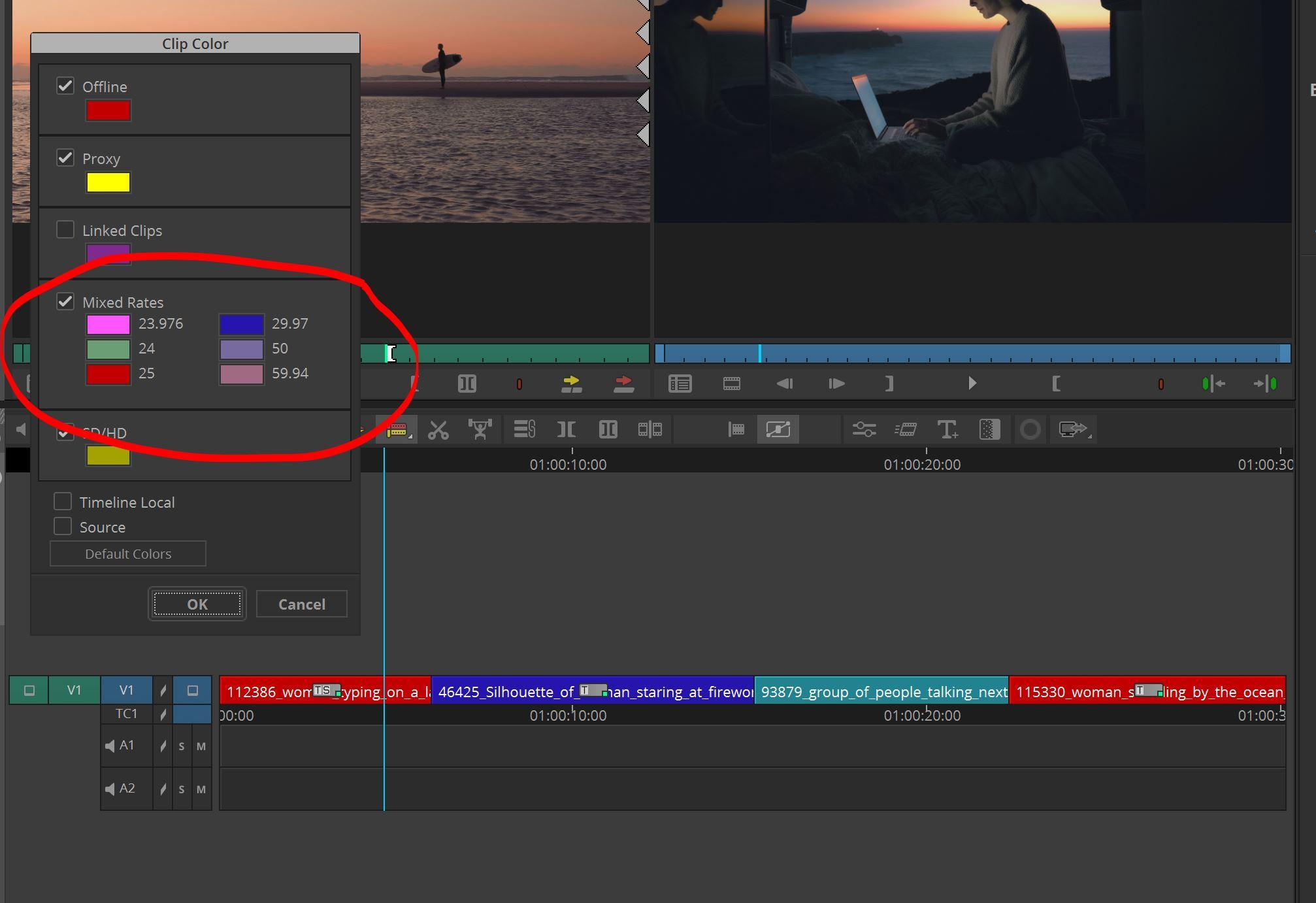 Media Composer Clip Color in your timeline