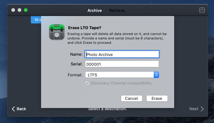 Erasing your LTO tape in Canister