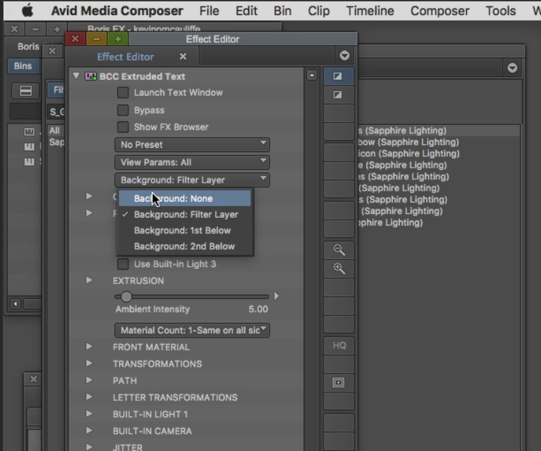 Media Composer Effects Editor