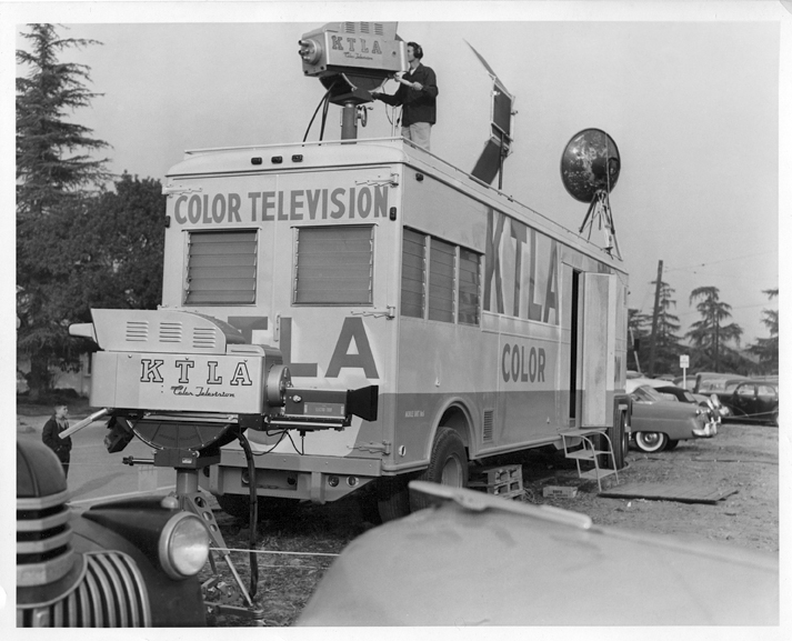 KTLA covered the 1955 Tournament of Roses Parade with this homebuilt two camera color unit. From the collection of John Silva.