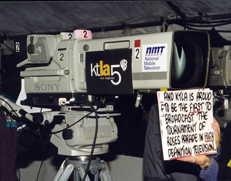 KTLA broadcast the high definition coverage of the Tournament of Roses Parade in 1999 using a truck rented from National Mobile Television (NMT). From the collection of John Silva