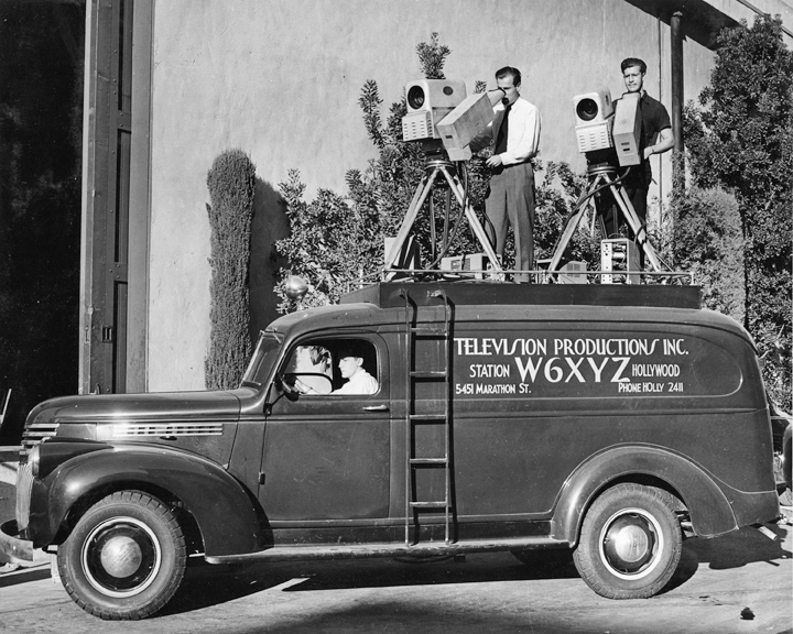 KTLA's first remote unit/control room. Original Dumont cameras on the roof. From the collection of John Silva