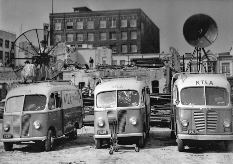 The 2nd generation KTLA remote units on the site of the electroplating plant explosion and fire. KTLA provided the first ever breaking news live coverage of the disaster. From the collection of John Silva.