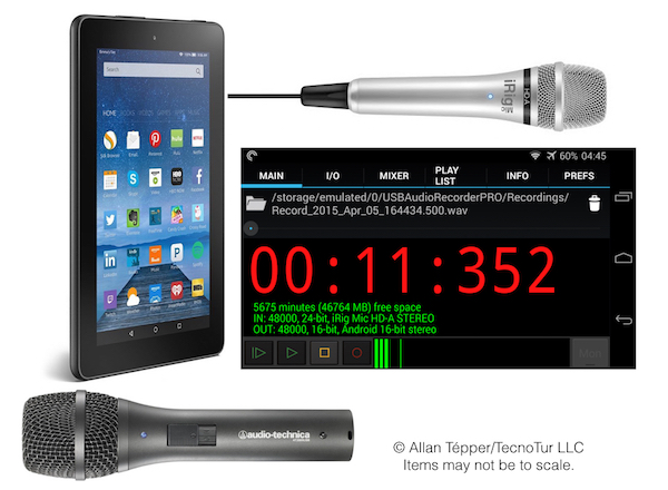 Kindle Fire audio recorder cart 600