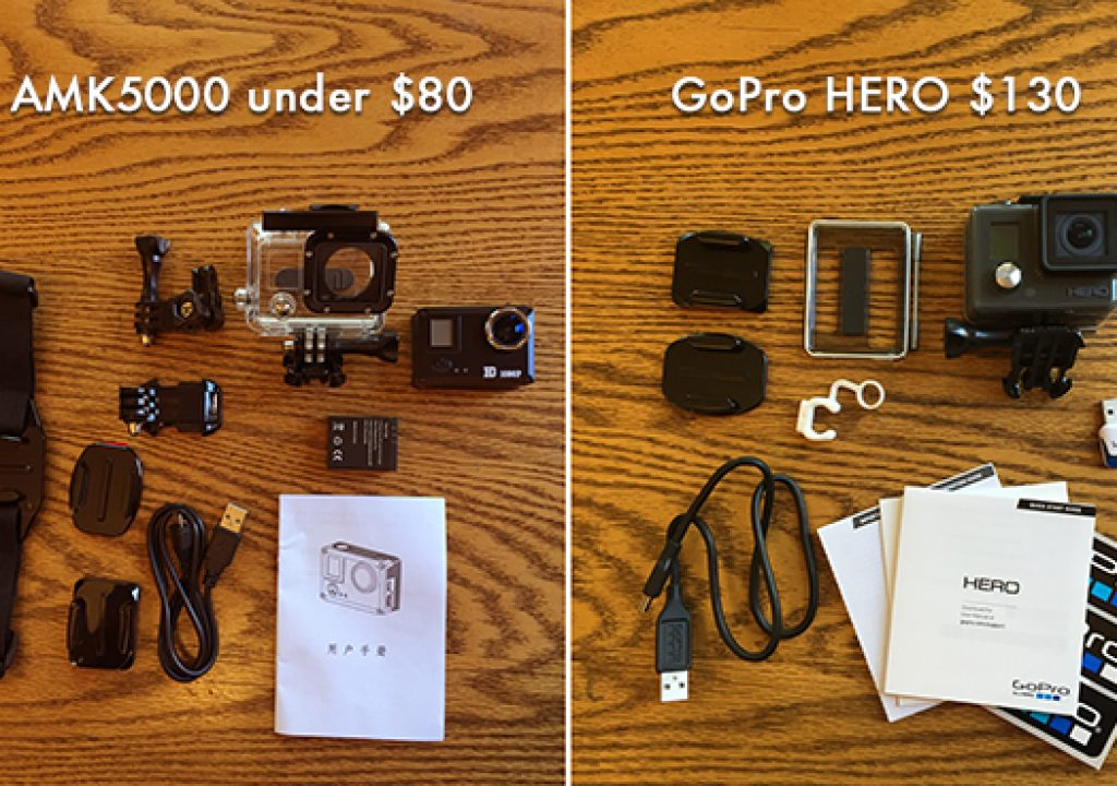 Amkov AMK 5000 Action Cam vs Entry Level GoPro HERO 1