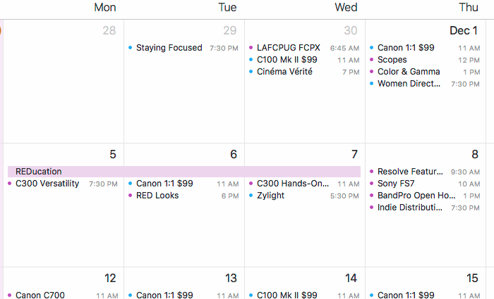 L.A. calendar for early December
