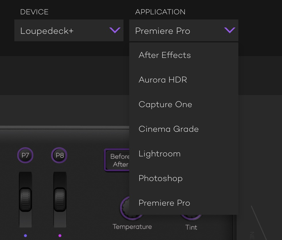 Adobe Premiere Pro Loupedeck applications