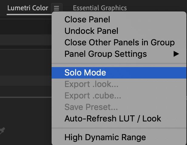 Adobe Premiere Pro Loupedeck solo mode