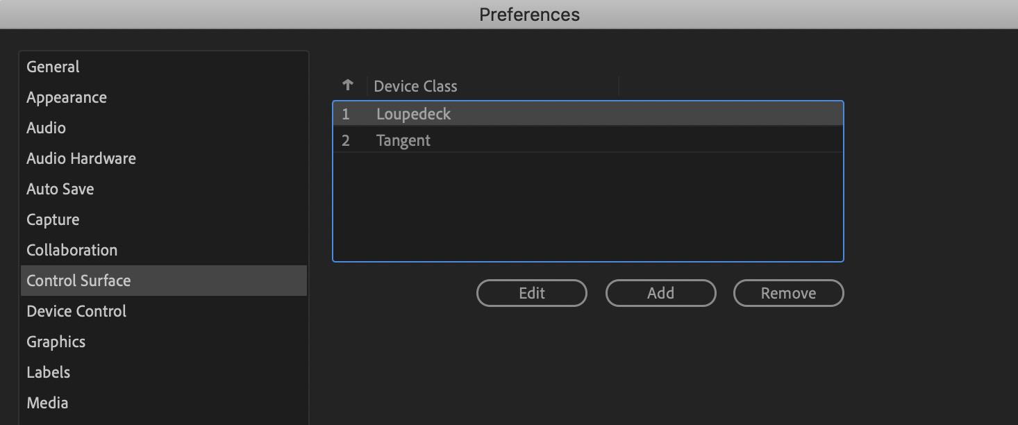 Loupedeck CT Adobe Premiere Pro preferences