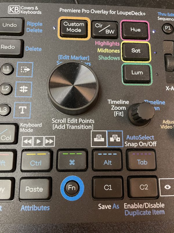 Custom video editing overlays for the Loupedeck+ control surface 1