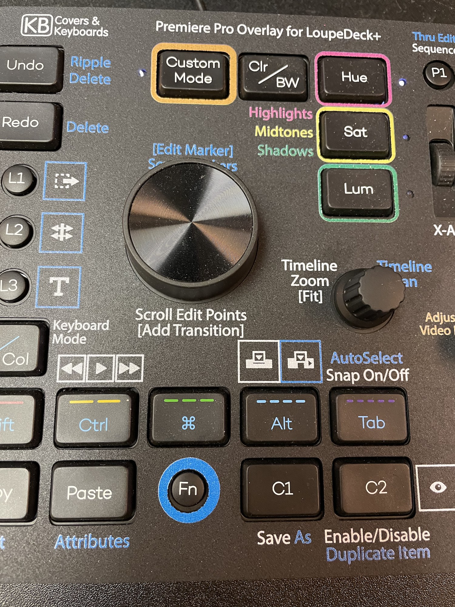Custom video editing overlays for the Loupedeck+ control surface 4