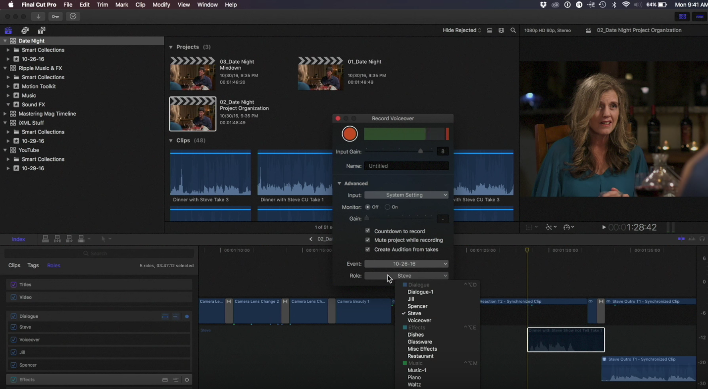 Role-assigned voiceover in Final Cut Pro 10.3