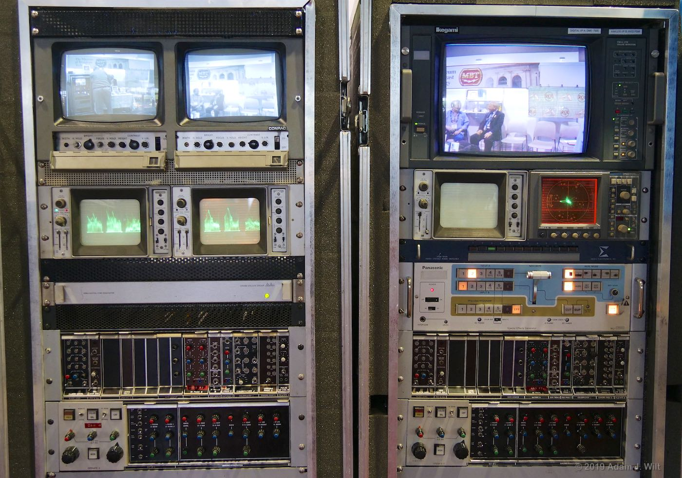 The cameras needed racks of support equipment. Note the RGB parade display on the WFMs.