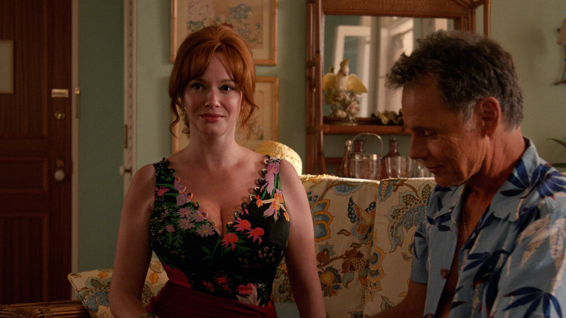 Christina Hendricks as Joan Harris and Bruce Greenwood as Richard Burghoff - Mad Men _ Season 7, Episode 14 - Photo Credit: Courtesy of AMC