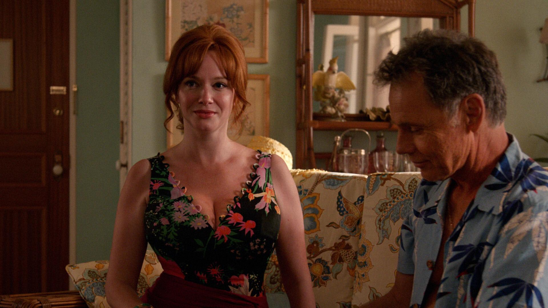 Christina Hendricks as Joan Harris and Bruce Greenwood as Richard Burghoff - Mad Men _ Season 7, Episode 14 - Photo Credit: Courtesy of AMC