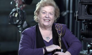 Victoria Rose Sampson backstage with her Emmy - dialog replacement