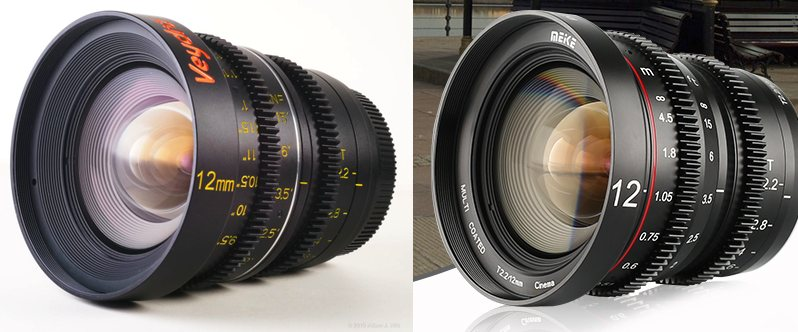 Veydra and Meike 12mm T2.2 lenses side by side