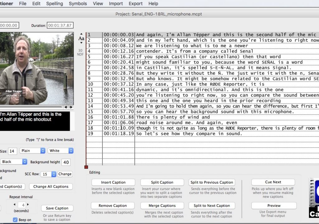 Review: MovieCaptioner for Mac creates all type of subtitles and closed captions 2