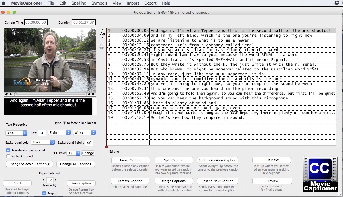 Review: MovieCaptioner for Mac creates all type of subtitles and