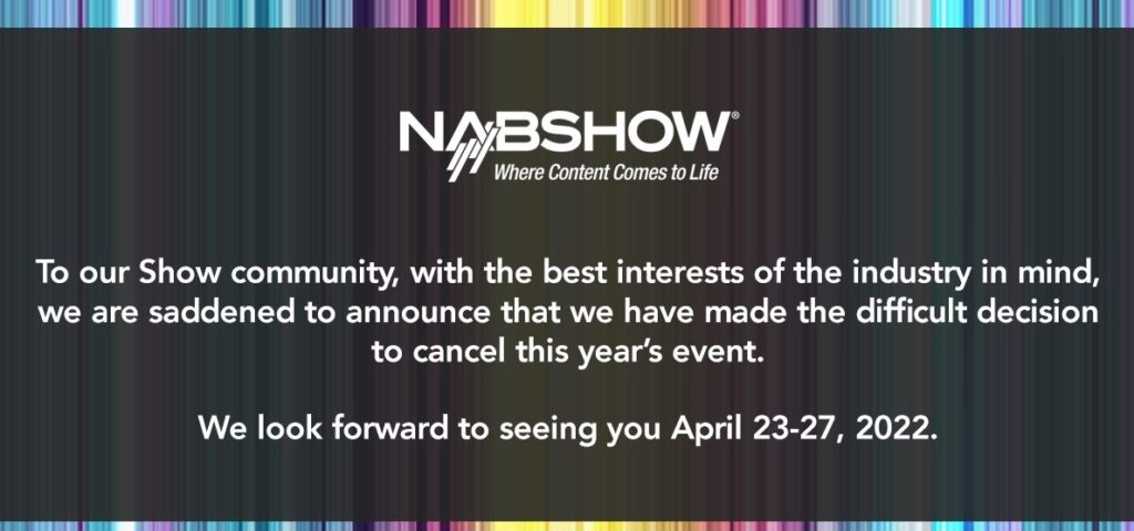 NAB Show officially canceled for Fall 2021 1