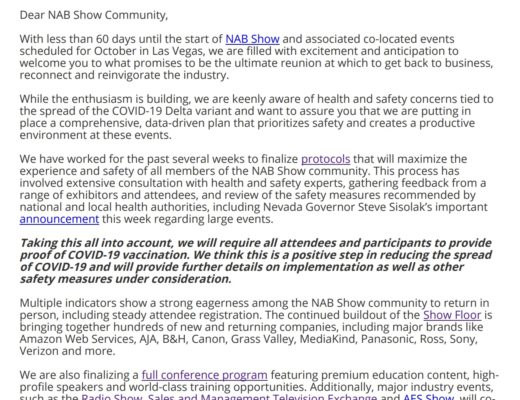 NAB Show will require proof of vaccination for NAB Show 2021 4