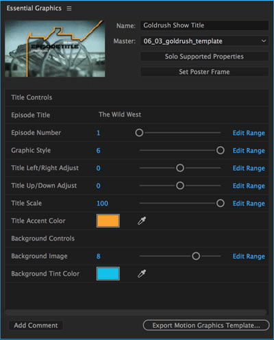 After Effects Essential Graphics panel