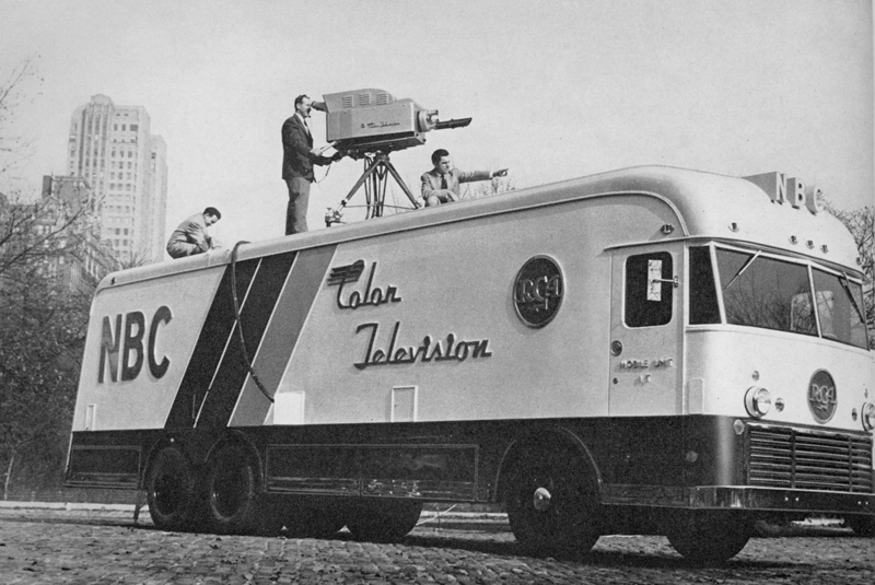 NBC's first (and for a while, only) network color mobile unit. This unit was for live broadcast only as tape had not been invented yet. From the Ed Reitan collection