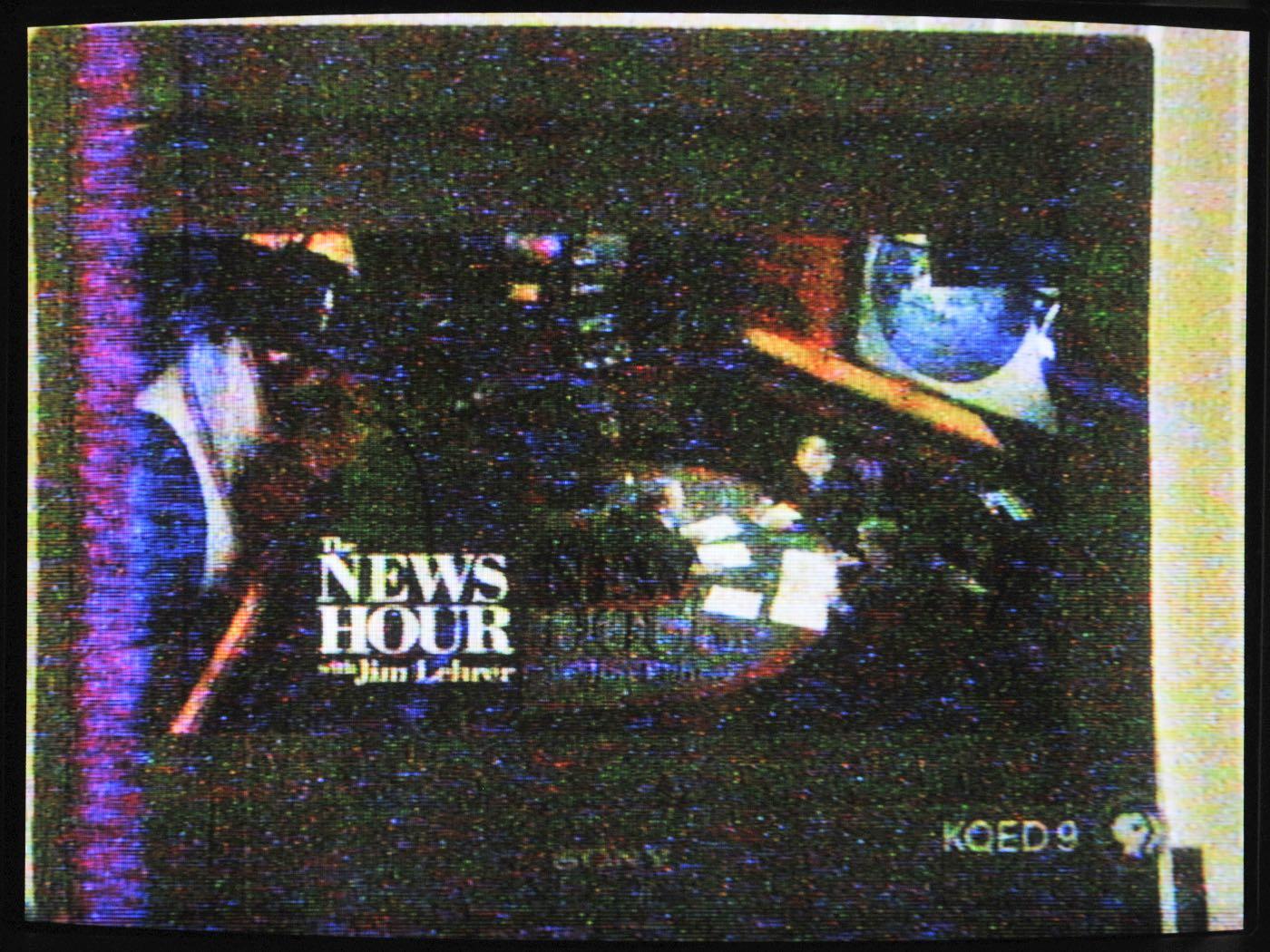 Shot of a 16x9 picture on a 4x3 CRT in the New Hour's studio