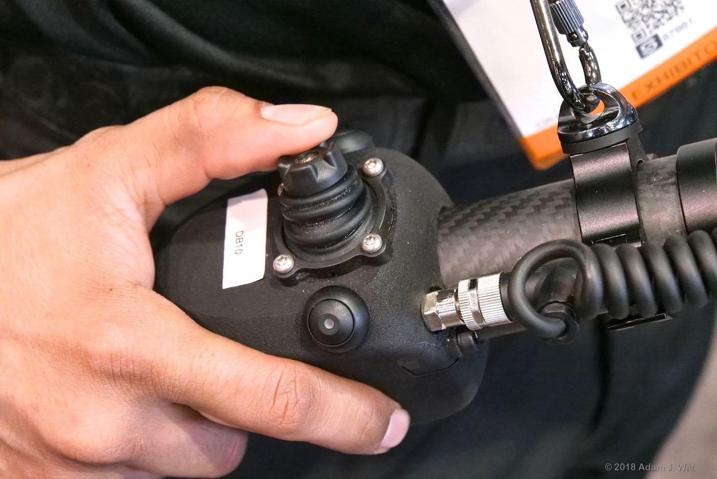 Gimbal control handgrip.