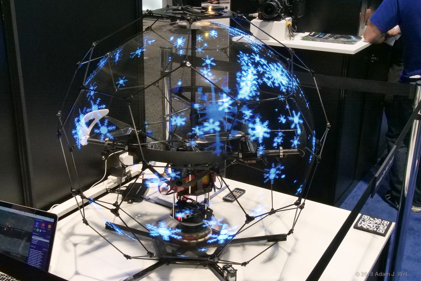 Spherical Drone Display, spun up for snowflakes