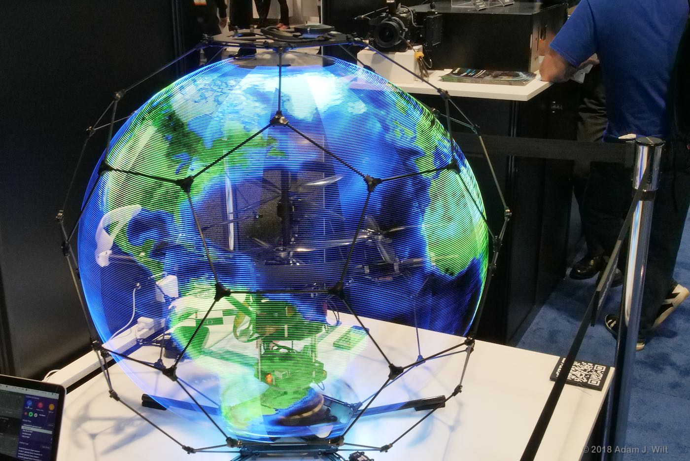 Spherical Drone Display, displaying a globe