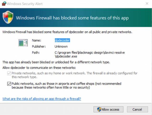 PC windows firewall blocked resolve