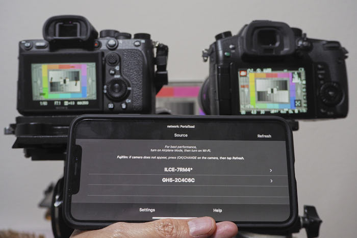 FieldMonitor showing both A7Riv and GH5 on same network