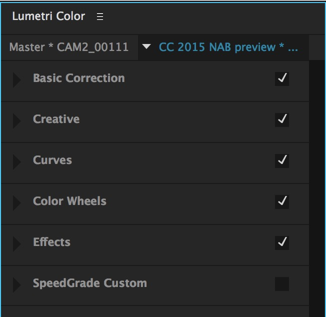 PPro NAB2015 lumteri color all closed