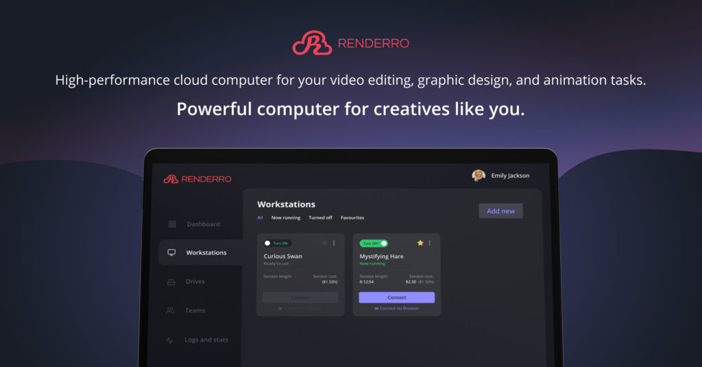 Renderro - powerful cloud computer for your post-production and creative tasks 7