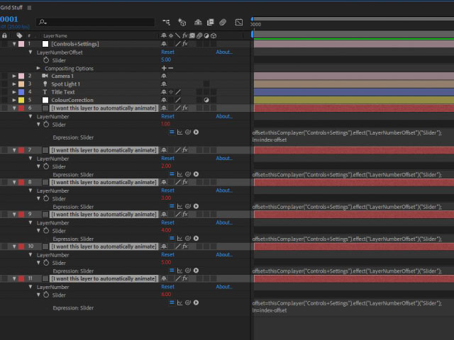 Automatic grid layouts in After Effects 6