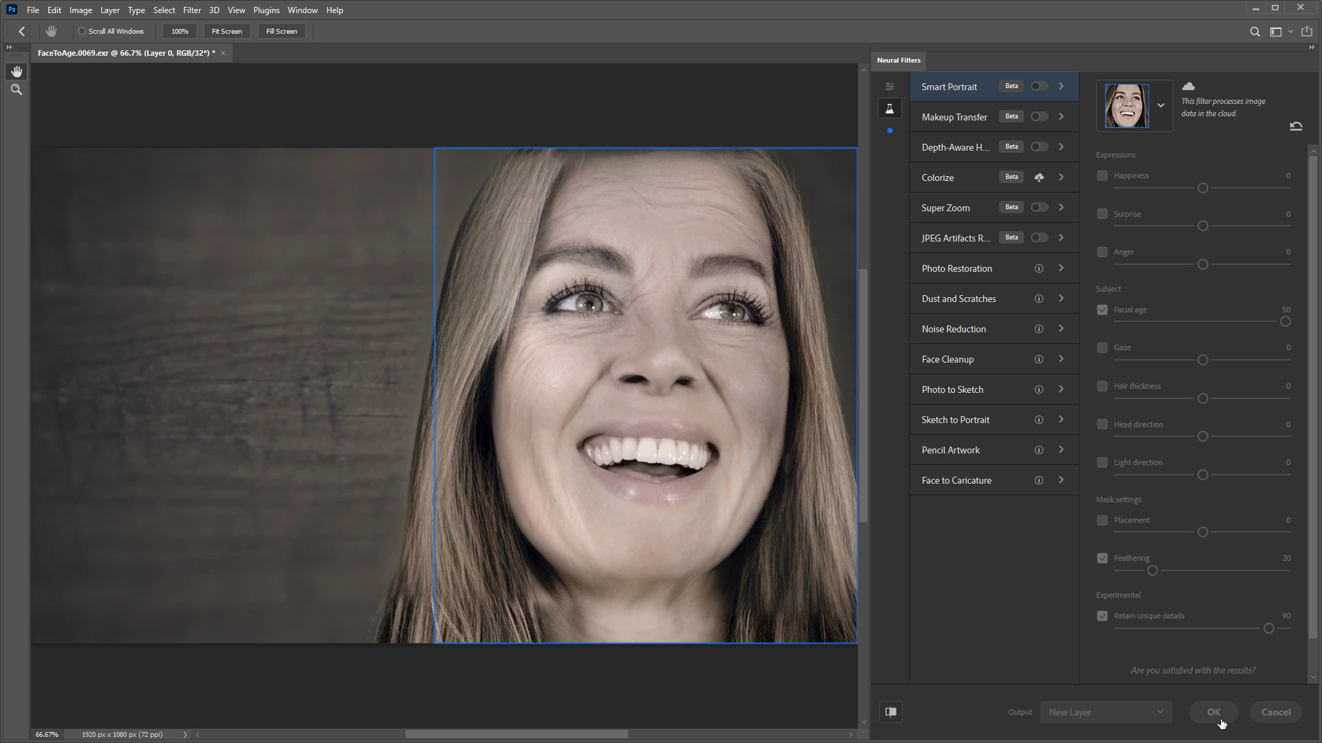 Aging an actor with Adobe Sensei and Mocha Pro 2021 15