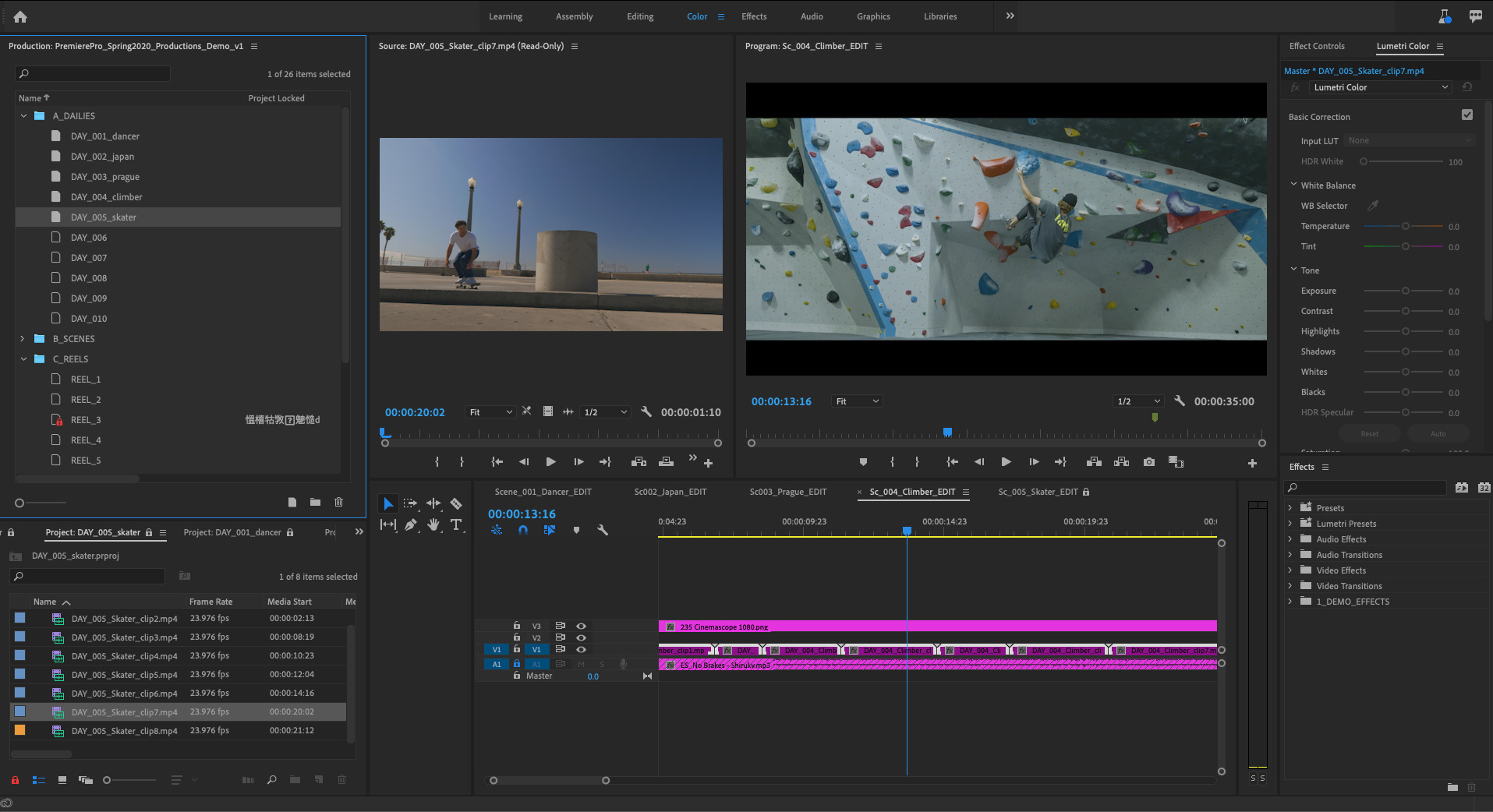 Adobe Premiere Pro Productions in the full interface