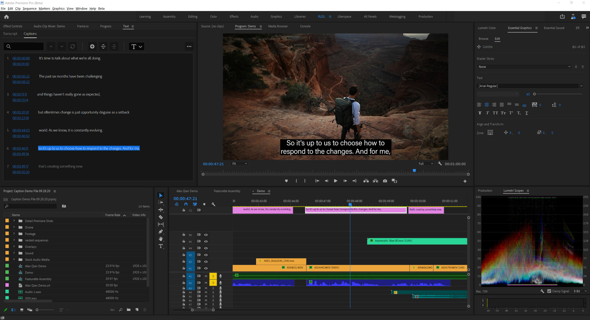 Adobe Premiere Pro caption track
