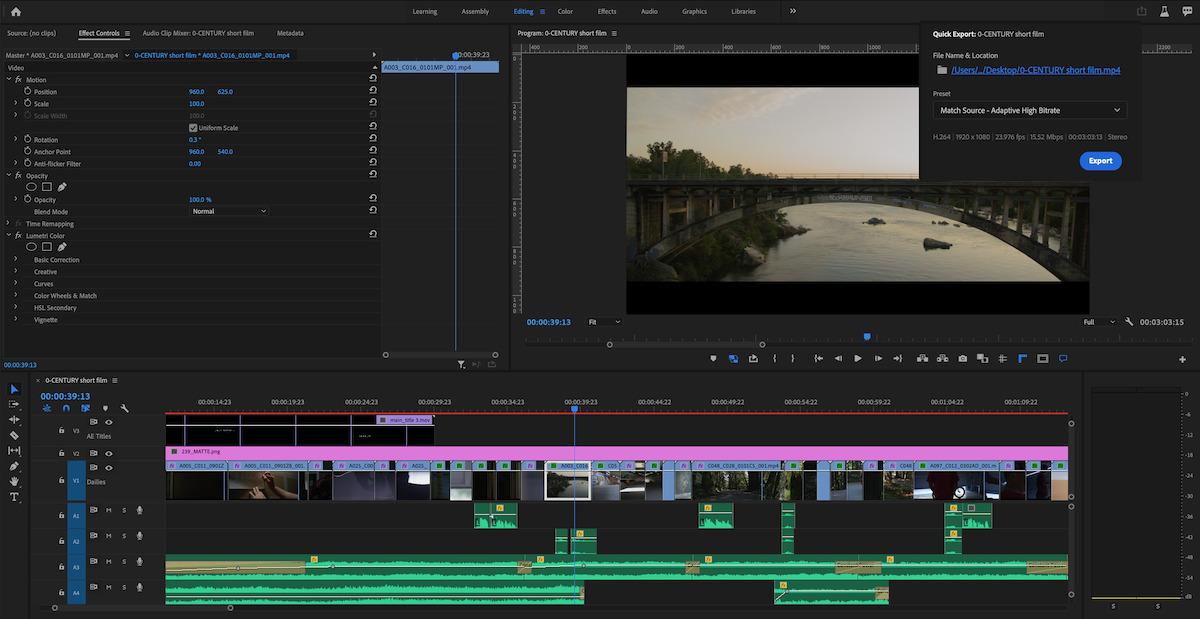 Adobe Premiere Pro Quick Export