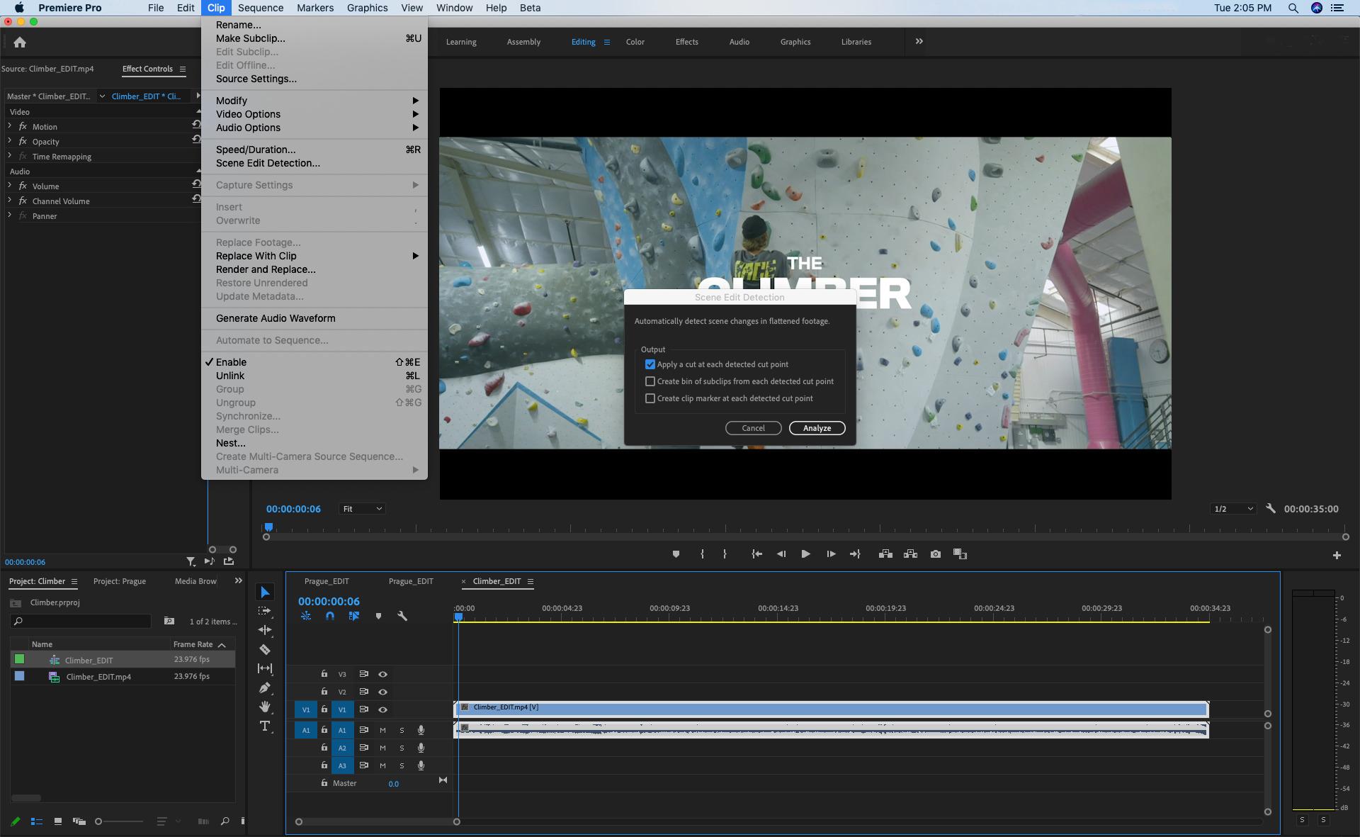 Adobe Premiere Pro scene edit detection