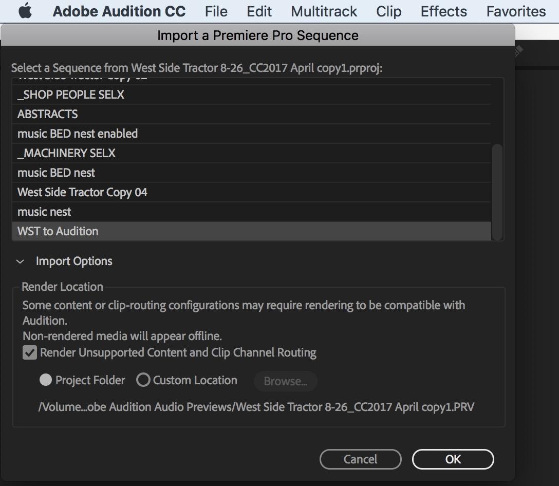 Adobe Premiere Pro audition Adobe Premiere Pro import