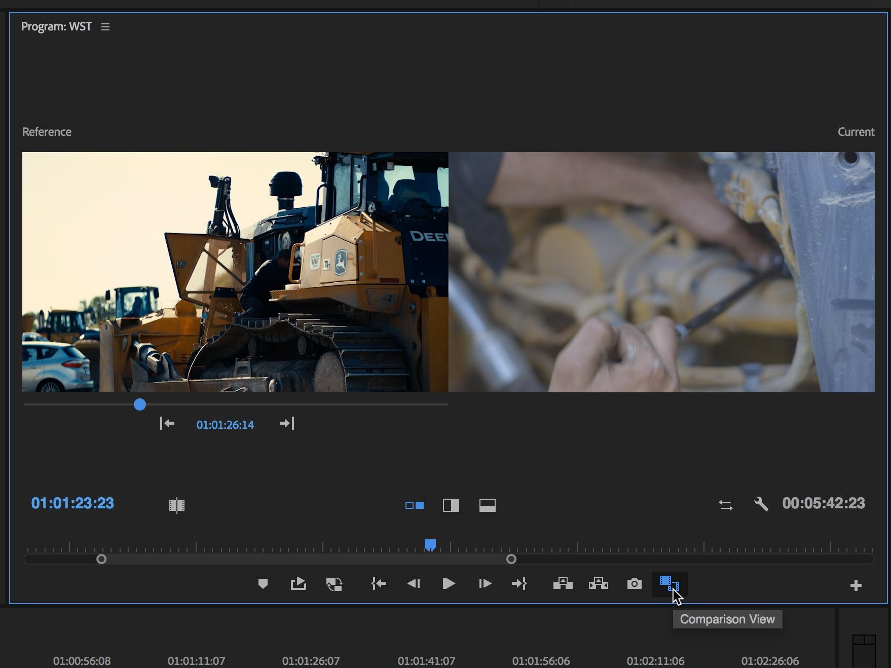 Adobe Premiere Pro comparison view