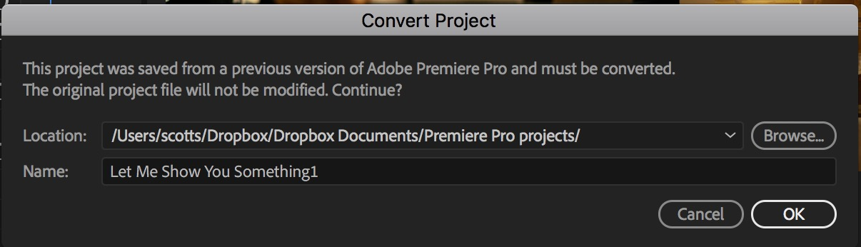 Adobe Premiere Pro convert project