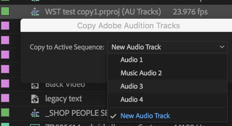 Adobe Audition back to Adobe Premiere Pro