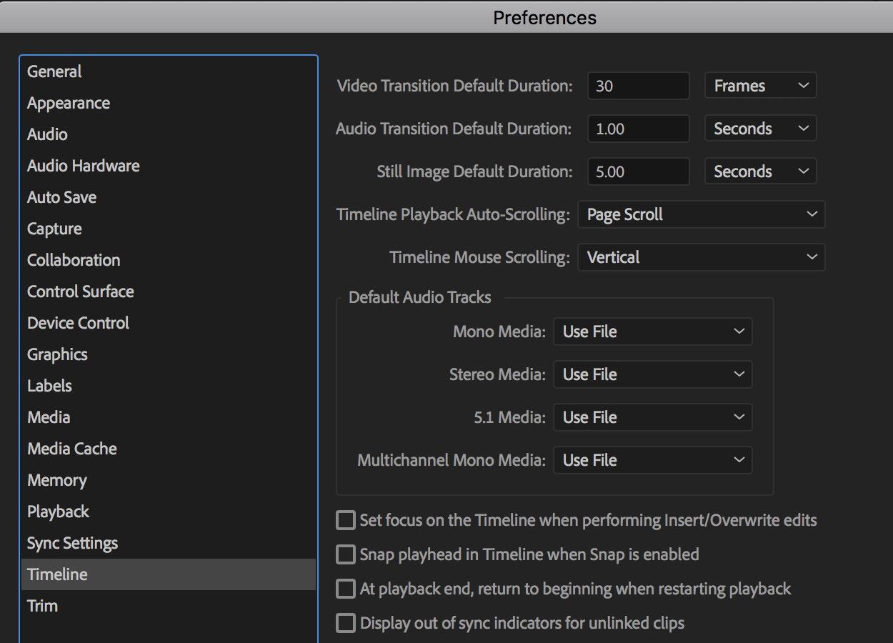 Adobe Premiere Pro default audio timeline
