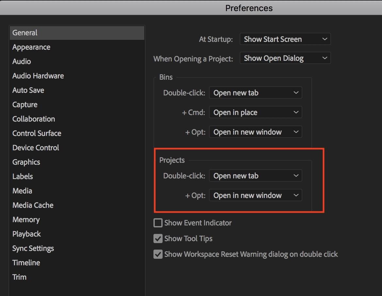 Adobe Premiere Pro preferences project