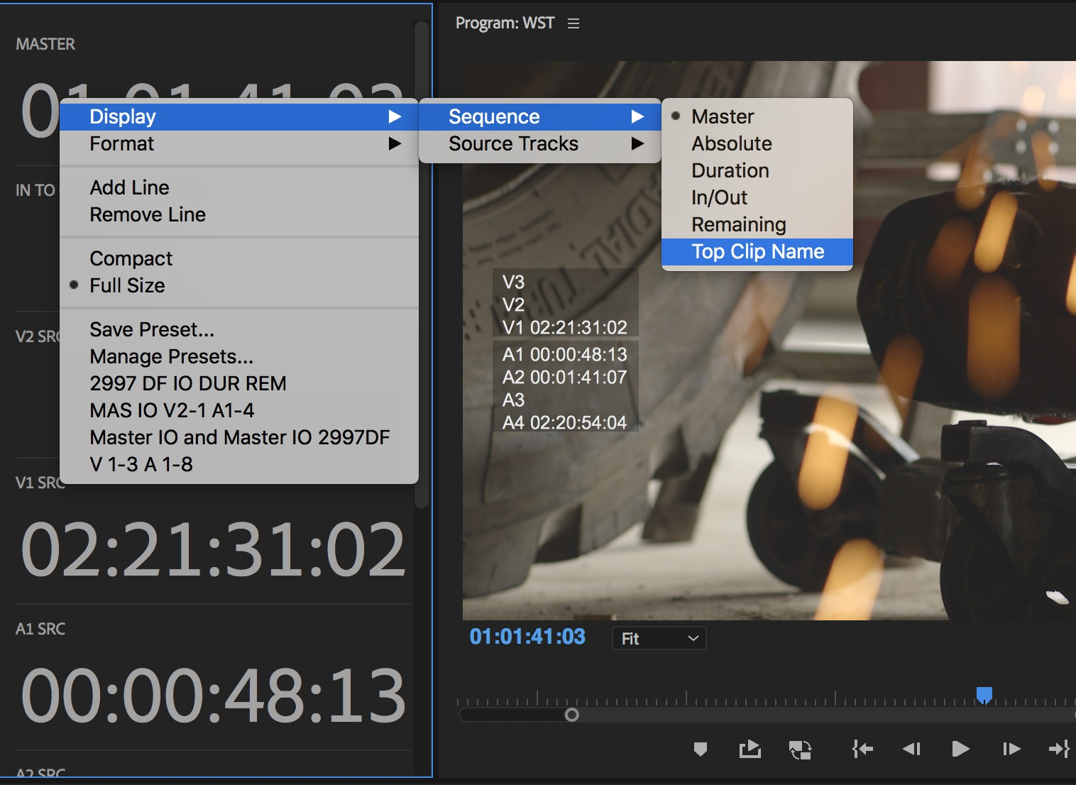 Adobe Premiere Pro timecode display options
