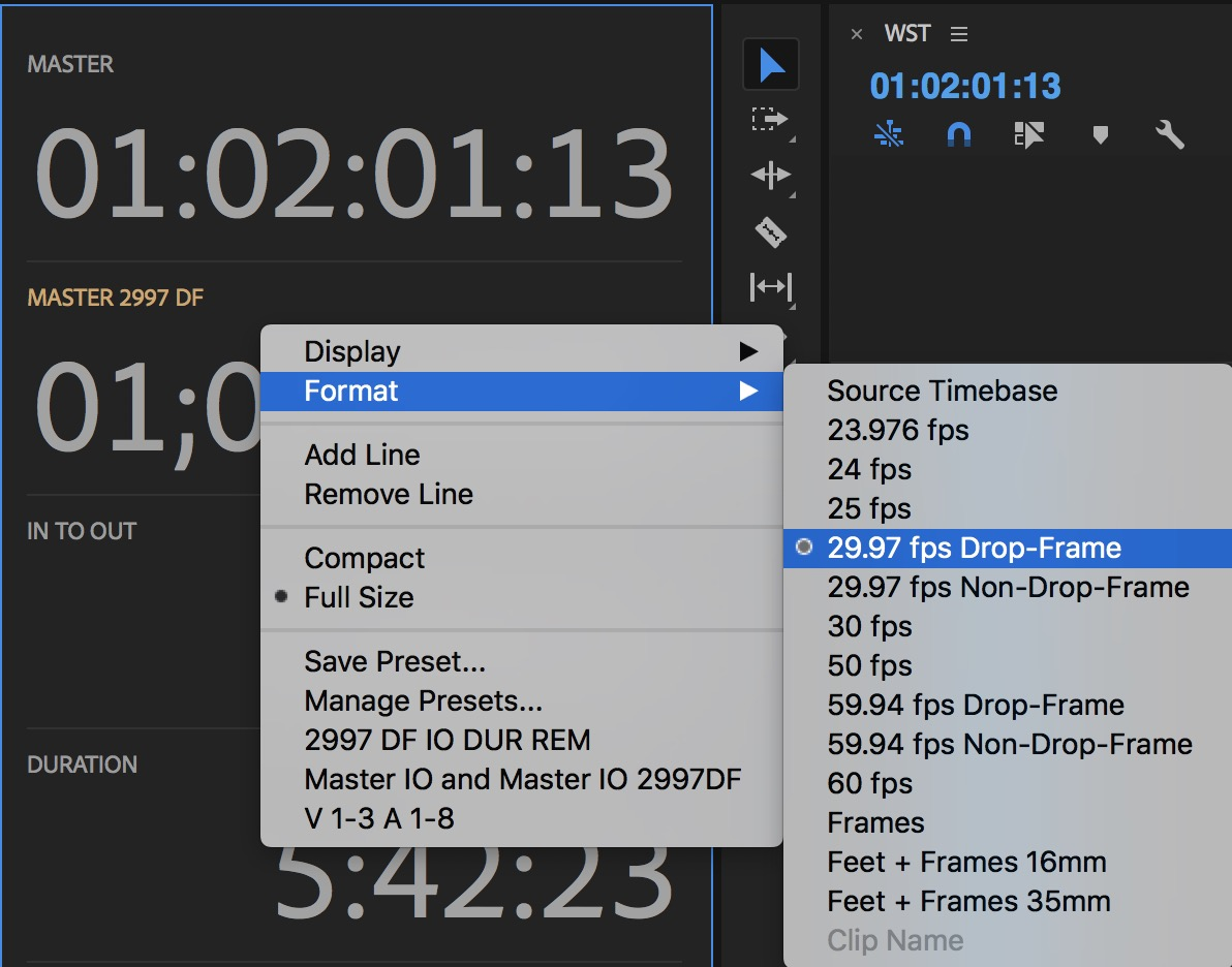 Adobe Premiere Pro timecode formats