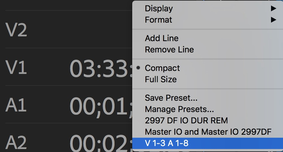 Adobe Premiere Pro timecode saved presets